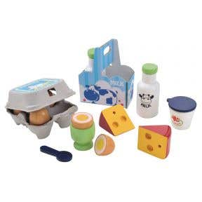 elc wooden dairy and eggs set
