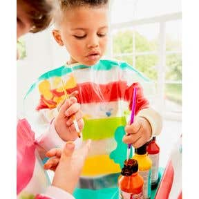 elc striped apron 3-4 years