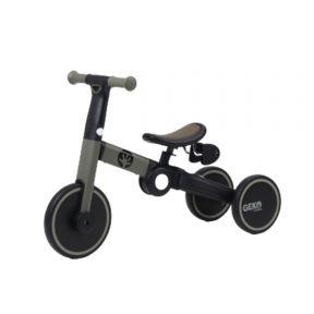Geko 5 In 1 Balance Bike with Stick - Grey