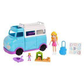 Polly Pocket Glamping Van and Doll Playset