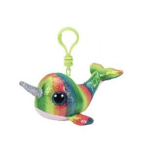 Beanie Boos Multicolor Narwhal Keychain