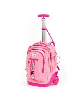 Stardust 2 in 1 Backpack and Trolley - Pink Star